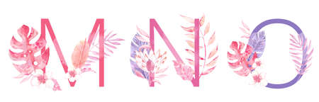 Watercolor Hand Drawn tropic letters. Uppercase M, N, O with jungle herbal decorations. Palm and monstera leaves, flowers and branches.