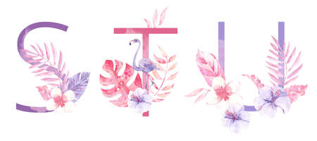 Watercolor Hand Drawn tropic letters. Uppercase S, T, U with jungle herbal decorations. Palm and monstera leaves, flowers and flamingo.
