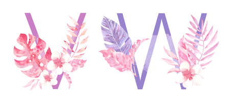 Watercolor Hand Drawn tropic letters. Uppercase V, W with jungle herbal decorations. Palm and monstera leaves, flowers and branches.