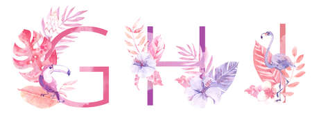 Watercolor Hand Drawn tropic letters. Uppercase G, H, I, with jungle herbal decorations. Palm and monstera leaves, flowers and flamingo.