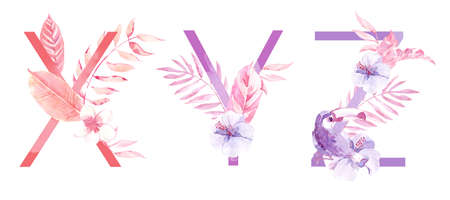 Watercolor Hand Drawn tropic letters. Uppercase X, Y, Z with jungle herbal decorations. Palm and monstera leaves, flowers and toucan.