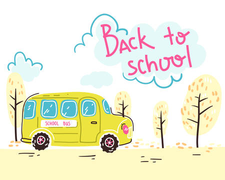 Back to school. Lettering composition with yellow school bus. Vector illustration. 일러스트