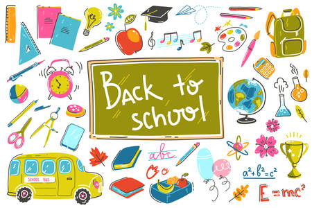 Doodle back to school collection. Vector illustrations in sketchy light style Imagens - 131711142