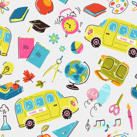 Seamless pattern with school symbols. School bus, alarm clock, backpack, stationery and books