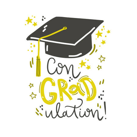 Congraulation. Lettering composition with graduation cap. Vector illustration