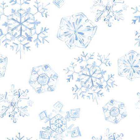 Watercolor seamless pattern with blue snowflakes falling.