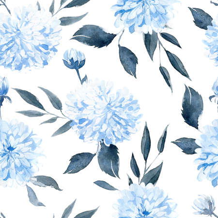 Watercolor seamless pattern with blue plants