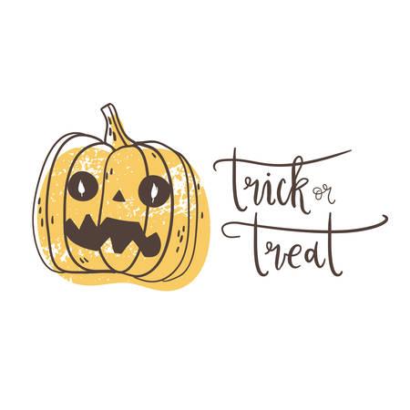 Trick or treat. Halloween poster with hand drawn pumpkin lantern, grunge