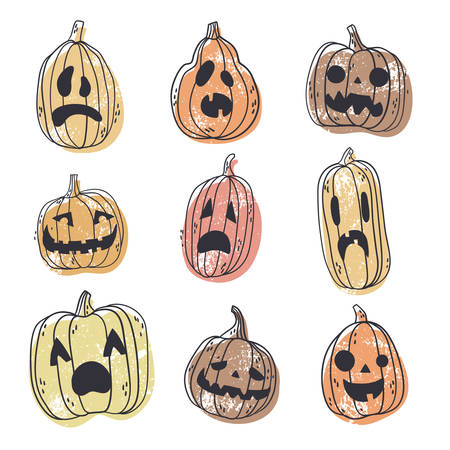 Set of spooky Halloween pumpkin faces. Hand drawn illustration, natural colors