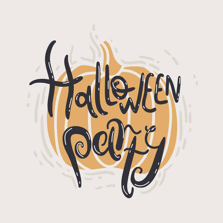 Halloween party. Pumpkin autumn poster with hand drawn lettering. Simple style
