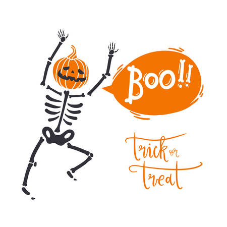 Boo. Poster with skeleton with pumpkin head says Boo