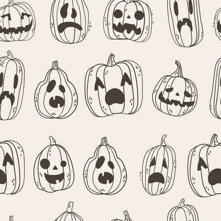 Seamless pattern with spooky Halloween pumpkin faces. Hand drawn illustration,