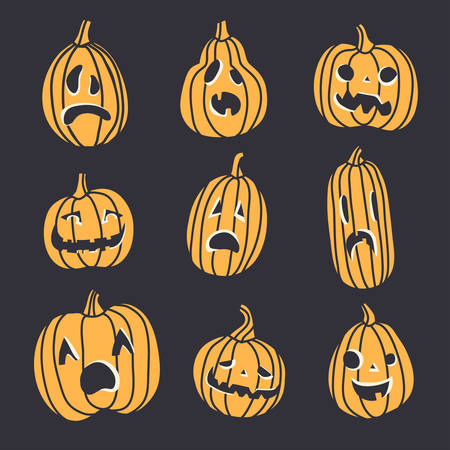 Set of spooky Halloween pumpkin faces. Different emotions, isolated elements 일러스트