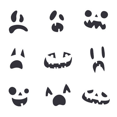 Pumpkin or ghost faces, simple black and white template. Collection