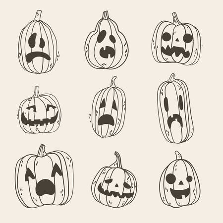 Set of spooky Halloween pumpkin faces. Hand drawn illustration, only line