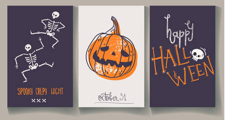 Greeting Halloweens cards with pumpkin, skeleton and hand lettering. Creepy illustrations