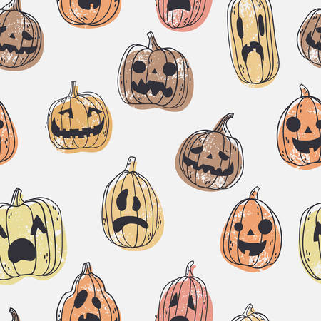 Seamless pattern with spooky Halloween pumpkin faces. Hand drawn illustration