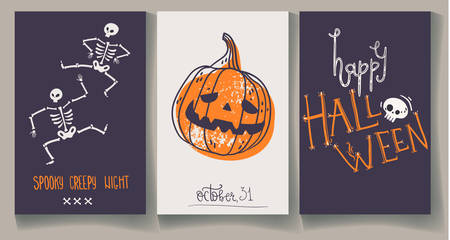 Greeting Halloweens cards with pumpkin, skeleton and hand lettering 일러스트