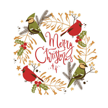 Wreath with Christmas decorative elements - plants, branches, jay and red cardinal birds. Traditional symbols, greeting card, vector illustration. Merry Christmas
