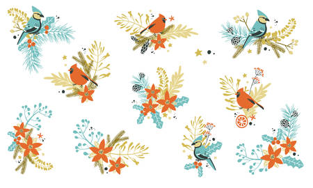 Christmas decorative compositions with traditional plants and birds.