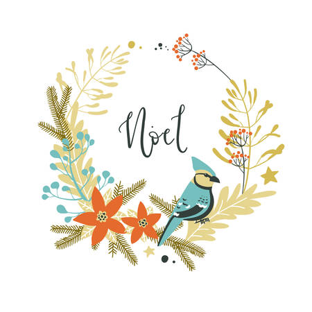 Wreath with Christmas decorative elements - plants, branches, jay bird. Traditional symbols, greeting card Illustration