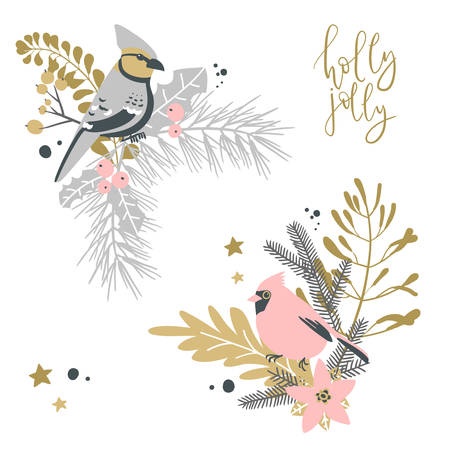 Christmas decorative corner compositions with traditional plants and birds. Illustration