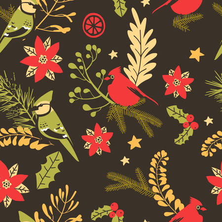 Seamless pattern with Christmas decorative elements - plants, branches, birds. Traditional symbols