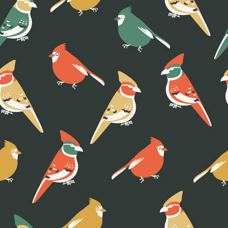 Seamless pattern with birds, red cardinal and jay. Minimalistic Scandinavian design Illustration