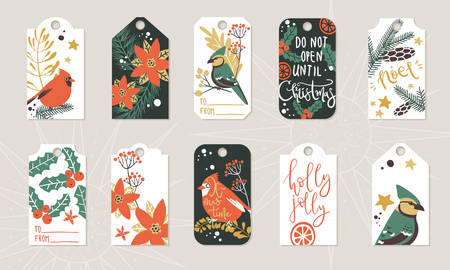 Collection of Christmas and winter gift tags, ready template, print and use
