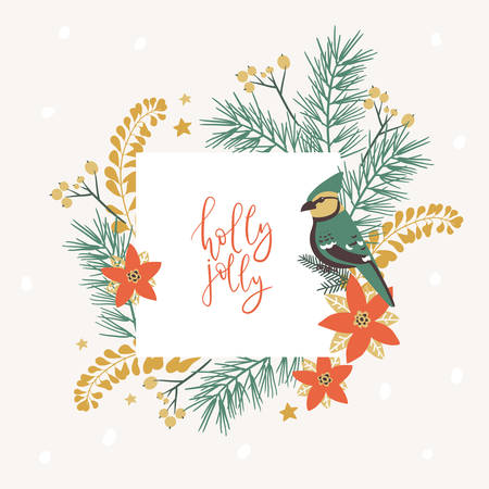 Frame with Christmas decorative elements - plants, branches, jay bird. Traditional symbols, greeting card