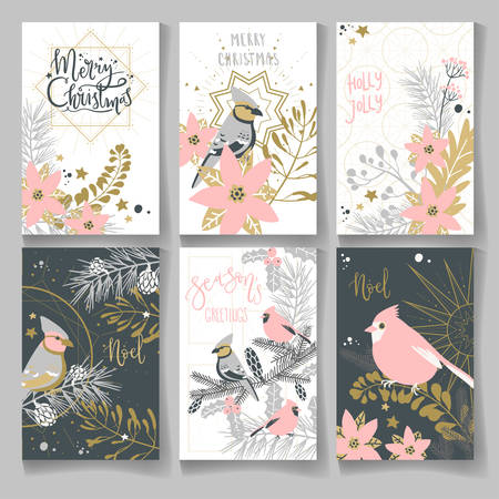 Collection of Christmas and winter cards with lettering and birds and plants, ready template