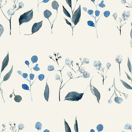Watercolor seamless pattern with black and blue plants