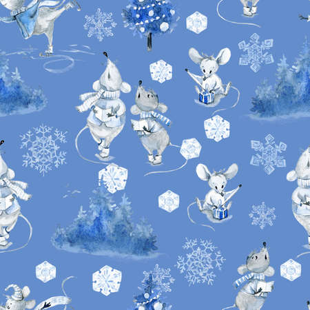 Watercolor seamless pattern with mice, winter cute characters Stok Fotoğraf