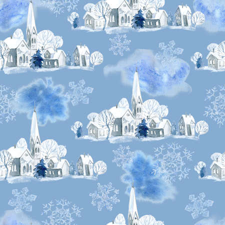 Watercolor seamless pattern with old traditional winter town with Catholic church.