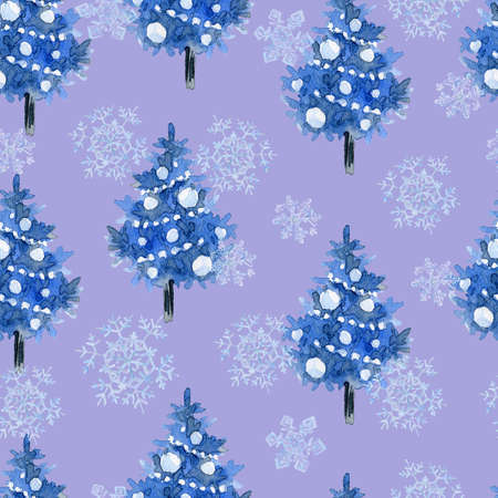 Watercolor seamless pattern with black and blue Christmas trees, winter holiday