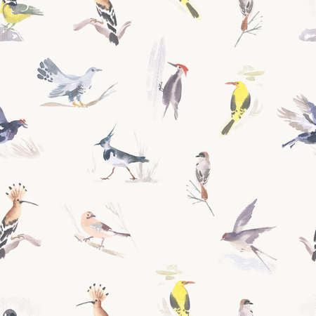 Watercolor seamless pattern with different birds. Hand drawn illustration. Stok Fotoğraf