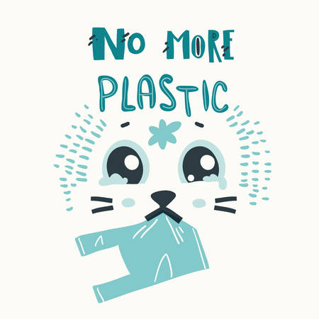 Poster with sad seal and plastic garbage in it mouth. No more plastic Stock Illustratie