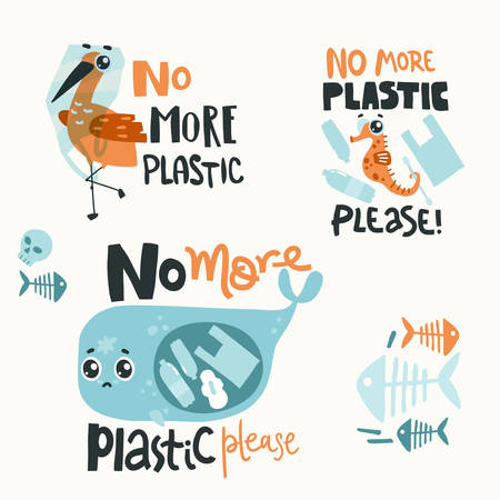 Lettering compositions with sad sea animals and plastic garbage in the ocean. No more plastic