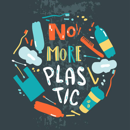 Vector poster with hand drawn elements of plastic pollution. Çizim
