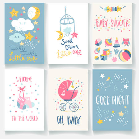 Set of baby cards. Good night, twinkle star, sweet dream, welcome, baby shower. Hand lettering and cute illustrations. Standard-Bild - 140184165