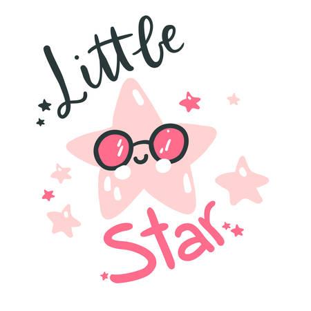 Cute baby star. Hand drawn vector illustration. For kids or babys shirt design, fashion print design, graphic, t-shirt, kids wear. Little star lettering. Çizim