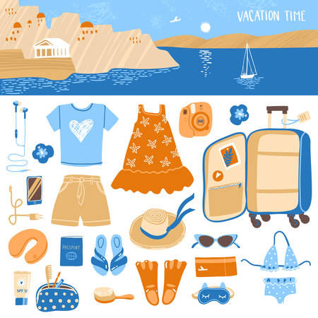 Travel illustrations elements, packing the suitcase on vacation at sea and horizontal landscape header.