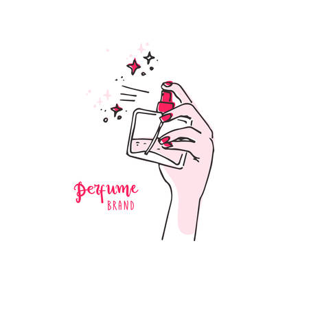 Doodle simple hand spray with perfume bottle.
