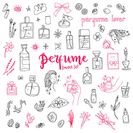 Perfume doodle set. Bottles, ingredients and decorative elements, simple cute style.