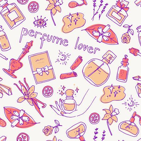 Perfume lover seamless pattern. Doodle glass bottles. Vector illustration