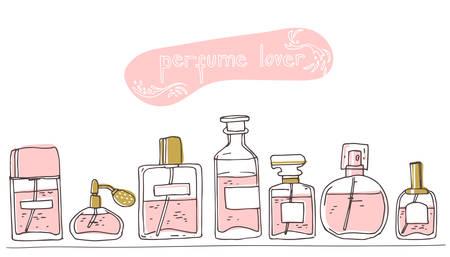 Perfume collection stand on a shelf. Doodle glass bottles set. Vector illustration. Perfume lover. Illusztráció
