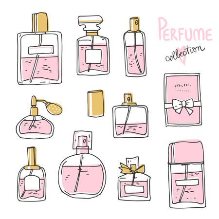 Perfume collection. Doodle glass bottles set. Vector simple illustration Illusztráció