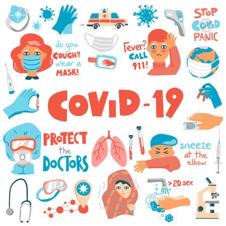 Coronavirus vector cartoon set. Symptoms, equipment and concepts. lettering compositions. Illusztráció