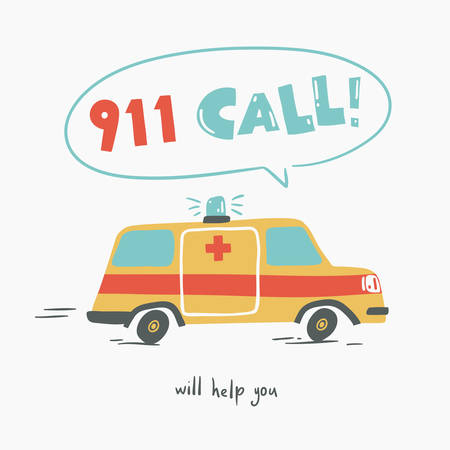 911 call. Poster with racing ambulance, cartoon style. Isolated vector illustration. 向量圖像