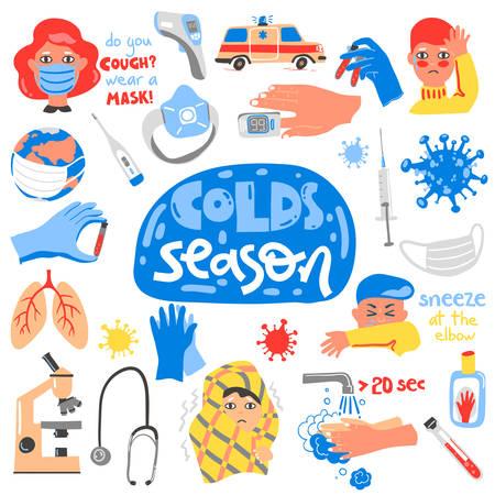 Colds season doodle set. Symptoms, equipment and concepts. lettering compositions. Illusztráció
